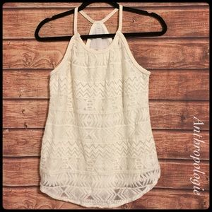 Anthropologie solitaire ivory crochet tank top